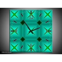 Wandklok op Canvas Modern | Kleur: Groen, Blauw | F005295C