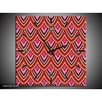 Wandklok op Canvas Modern | Kleur: Rood, Bruin, Grijs | F005299C