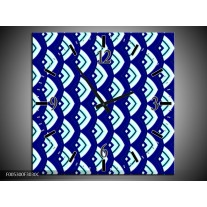 Wandklok op Canvas Modern | Kleur: Blauw, Wit | F005300C