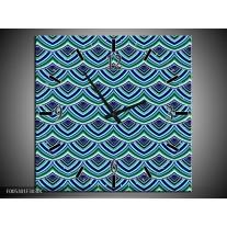 Wandklok op Canvas Modern | Kleur: Blauw, Groen | F005301C