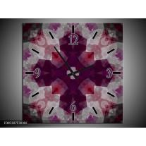 Wandklok op Canvas Modern | Kleur: Paars, Grijs | F005307C