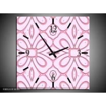 Wandklok op Canvas Modern   Kleur: Roze, Grijs   F005313C