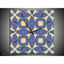 Wandklok op Canvas Modern | Kleur: Blauw, Geel | F005314C