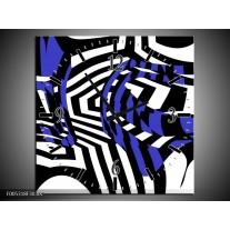 Wandklok op Canvas Modern   Kleur: Blauw, Zwart, Wit   F005318C