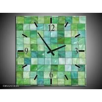 Wandklok op Canvas Modern | Kleur: Groen, Grijs | F005321C