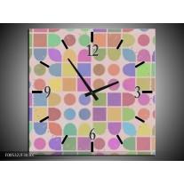 Wandklok op Canvas Modern | Kleur: Roze, Blauw, Groen | F005322C