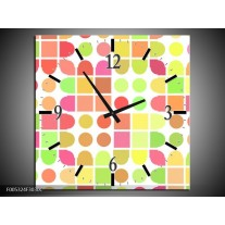 Wandklok op Canvas Modern | Kleur: Geel, Rood, Groen | F005324C