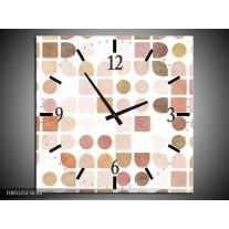 Wandklok op Canvas Modern   Kleur: Wit, Bruin, Roze   F005325C