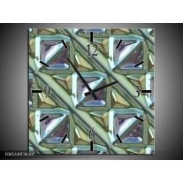 Wandklok op Canvas Modern   Kleur: Grijs, Groen, Wit   F005330C