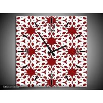 Wandklok op Canvas Modern | Kleur: Rood, Wit | F005332C