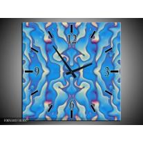Wandklok op Canvas Modern | Kleur: Blauw, Creme | F005341C