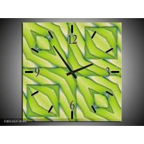 Wandklok op Canvas Modern | Kleur: Geel, Groen | F005342C