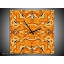 Wandklok op Canvas Modern | Kleur: Oranje, Geel, Wit | F005343C