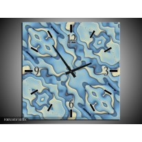Wandklok op Canvas Modern | Kleur: Blauw, Wit | F005345C
