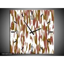 Wandklok op Canvas Modern | Kleur: Wit, Bruin | F005348C