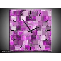 Wandklok op Canvas Modern | Kleur: Paars, Wit | F005350C