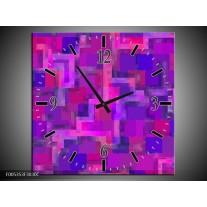 Wandklok op Canvas Modern | Kleur: Grijs, Paars, Roze | F005353C