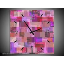 Wandklok op Canvas Modern | Kleur: Grijs, Paars, Roze | F005355C