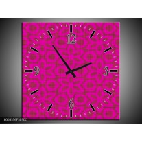 Wandklok op Canvas Modern | Kleur: Roze | F005356C