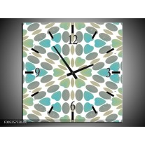 Wandklok op Canvas Modern | Kleur: Blauw, Groen, Wit | F005357C