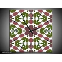 Wandklok op Canvas Modern | Kleur: Groen, Bruin, Wit | F005358C