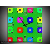 Wandklok op Canvas Modern   Kleur: Groen, Blauw, Geel   F005359C