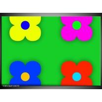 Foto canvas schilderij Modern | Groen, Blauw, Geel