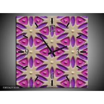 Wandklok op Canvas Modern   Kleur: Paars, Grijs, Roze   F005362C