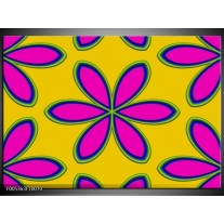 Foto canvas schilderij Modern | Geel, Roze, Blauw