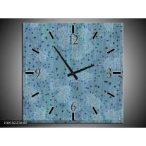 Wandklok op Canvas Modern | Kleur: Blauw, Grijs | F005365C