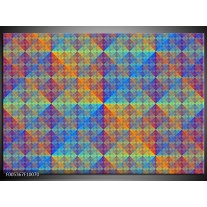 Foto canvas schilderij Modern | Blauw, Groen, Oranje