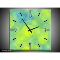 Wandklok op Canvas Modern | Kleur: Groen, Blauw | F005368C