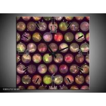 Wandklok op Canvas Modern | Kleur: Paars, Geel, Wit | F005371C