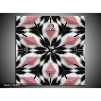 Wandklok op Canvas Modern   Kleur: Roze, Zwart, Wit   F005372C