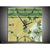 Wandklok op Canvas Modern | Kleur: Groen, Grijs | F005374C