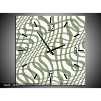 Wandklok op Canvas Modern | Kleur: Wit, Groen | F005381C