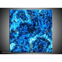 Wandklok op Canvas Modern | Kleur: Blauw, Zwart | F005393C