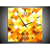 Wandklok op Canvas Modern | Kleur: Geel, Bruin, Goud | F005394C
