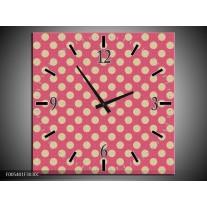 Wandklok op Canvas Modern | Kleur: Roze, Wit | F005401C