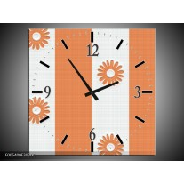 Wandklok op Canvas Modern   Kleur: Oranje, Wit   F005409C
