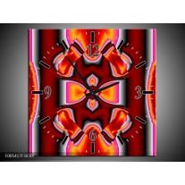 Wandklok op Canvas Modern   Kleur: Rood, Grijs, Geel   F005417C