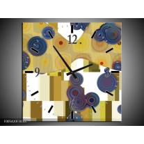Wandklok op Canvas Modern | Kleur: Blauw, Geel, Wit | F005420C