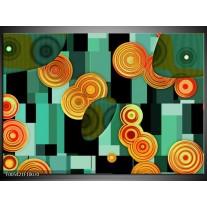 Foto canvas schilderij Modern   Groen, Oranje, Zwart