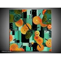 Wandklok op Canvas Modern   Kleur: Groen, Oranje, Zwart   F005421C