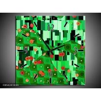 Wandklok op Canvas Modern | Kleur: Groen, Oranje, Zwart | F005424C