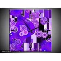 Wandklok op Canvas Modern | Kleur: Blauw, Paars, Zwart | F005425C