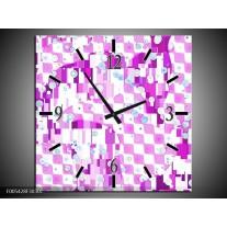 Wandklok op Canvas Modern | Kleur: Paars, Wit | F005428C