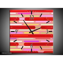 Wandklok op Canvas Abstract | Kleur: Rood, Paars, Wit | F005443C