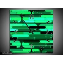 Wandklok op Canvas Abstract | Kleur: Groen, Zwart | F005444C