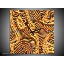 Wandklok op Canvas Abstract | Kleur: Goud, Bruin, Geel | F005447C